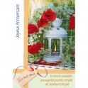 Carte double d'anniversaire avec une lanterne et fleurs bleues